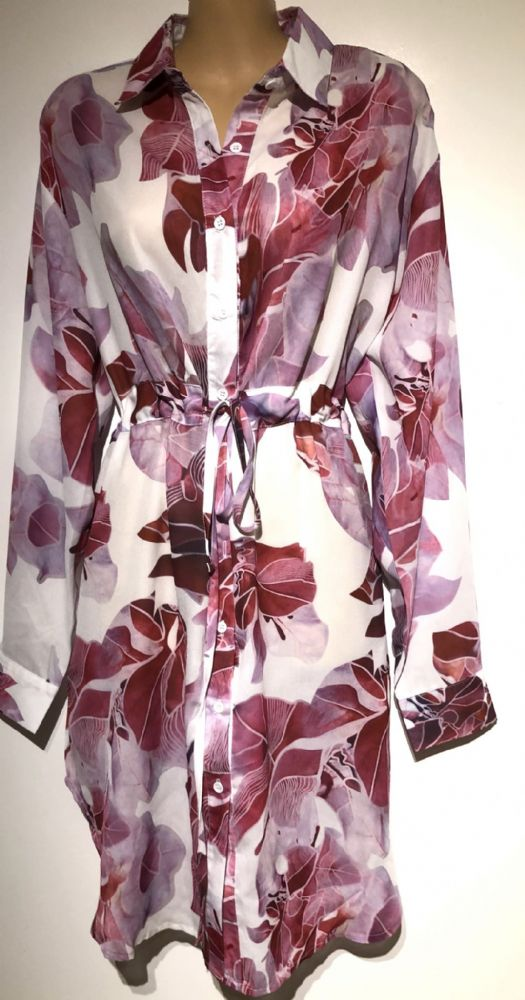 SOVOGUE PINK WHITE LEAF PRINT SHIRT DRESS BNWT SIZES 10-12